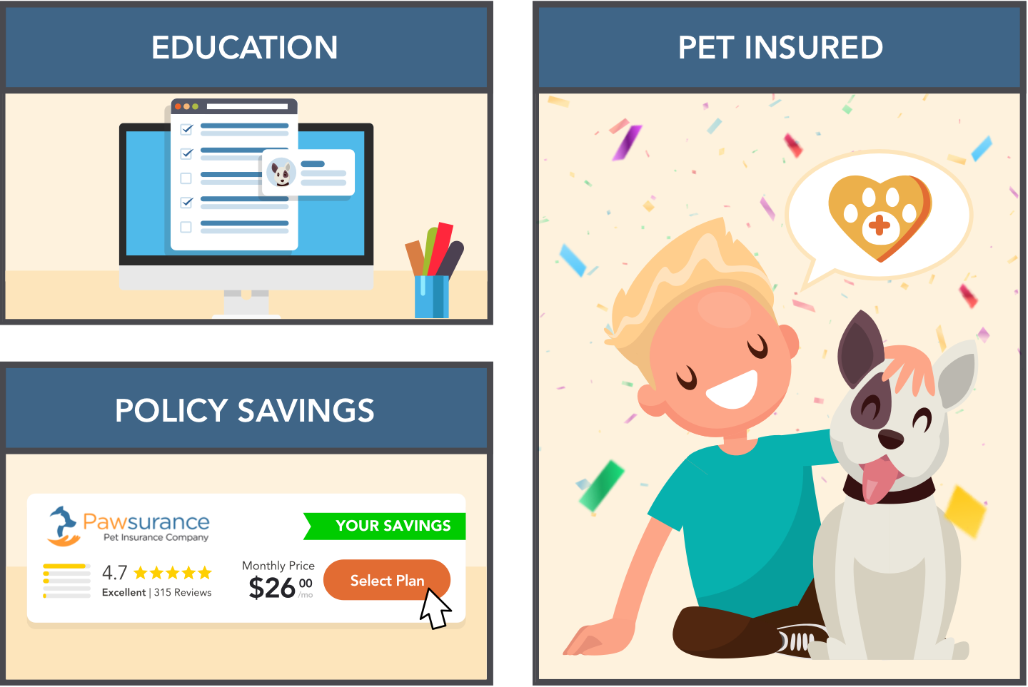 A pet parent going on Pawlicy Advisor to learn about pet insurance and purchase a policy.